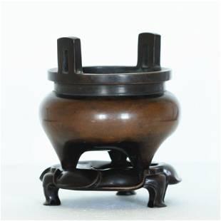 An exquisite copper censer,