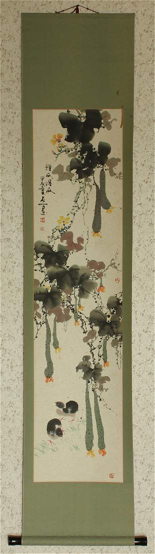 Chinese Ink & Color Scroll Hand Painting, with wooden