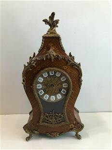 Victorian Wooden Inlaid Mantle Table Clock with Key