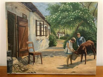 Antique H. Hansen Original Oil Painting on Canvas,