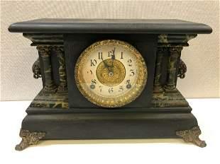 Antique Rare Black Wooden Mantle Clock, Not Working,