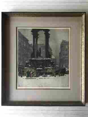 "Luigi Kasimir Original Color Etching Print ""Vienna,"