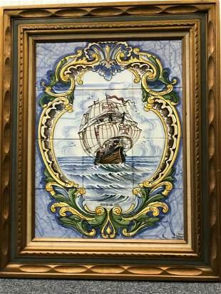 Portuguese Handmade & Painted Ceramic Tile Sailboat,