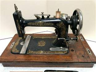 Antique New Home Sewing Machines w/Original Case & Foot