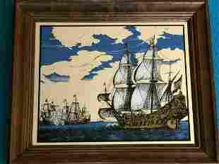 Nautical Sailing Ship Seascape Mirror w/Wooden Frame,