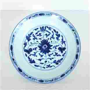 A Chinese blue and white porcelain plate Qing Dynasty