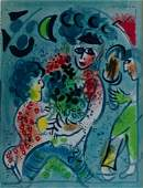 MARC CHAGALL - Harlequin with Flowers