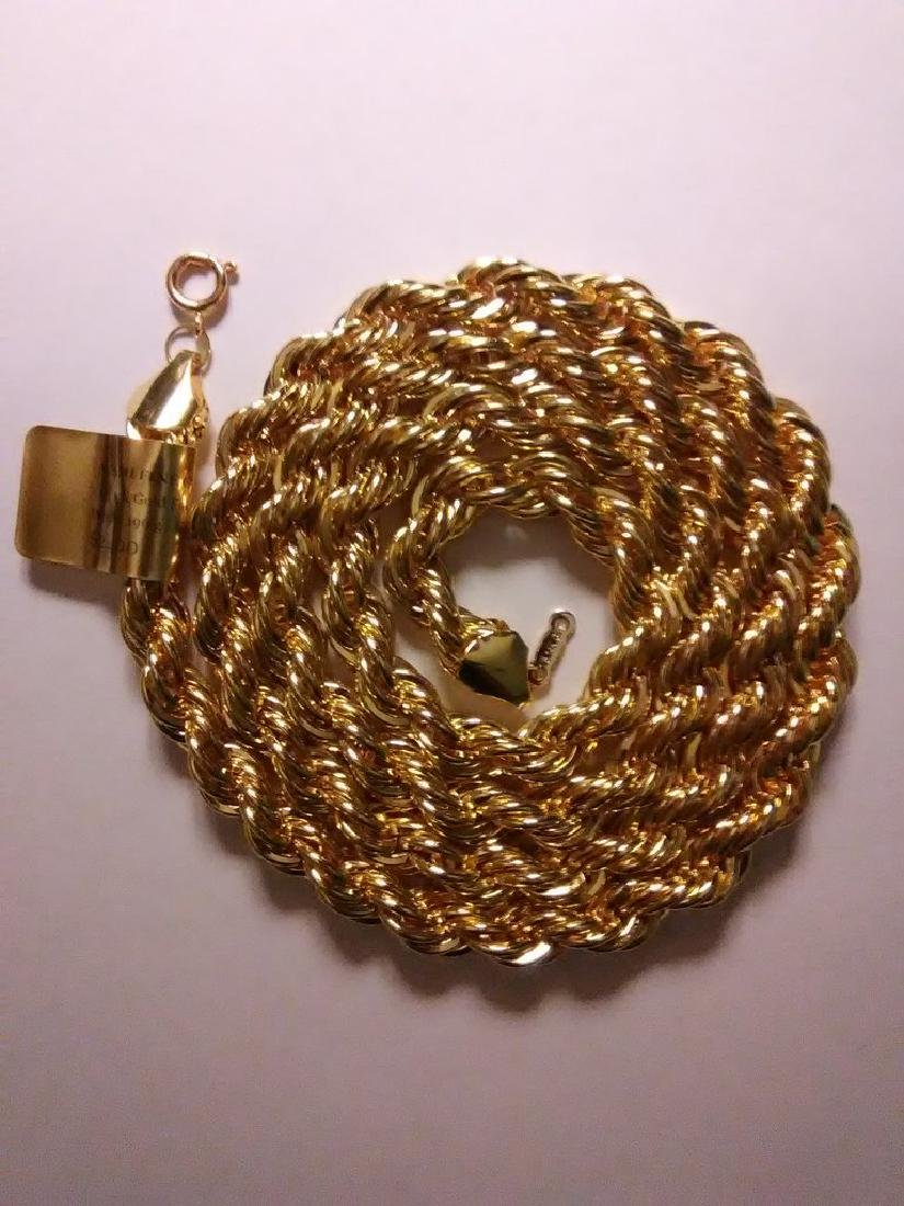 1/5 14K Gold Filled Rope Necklace, 196 Grams