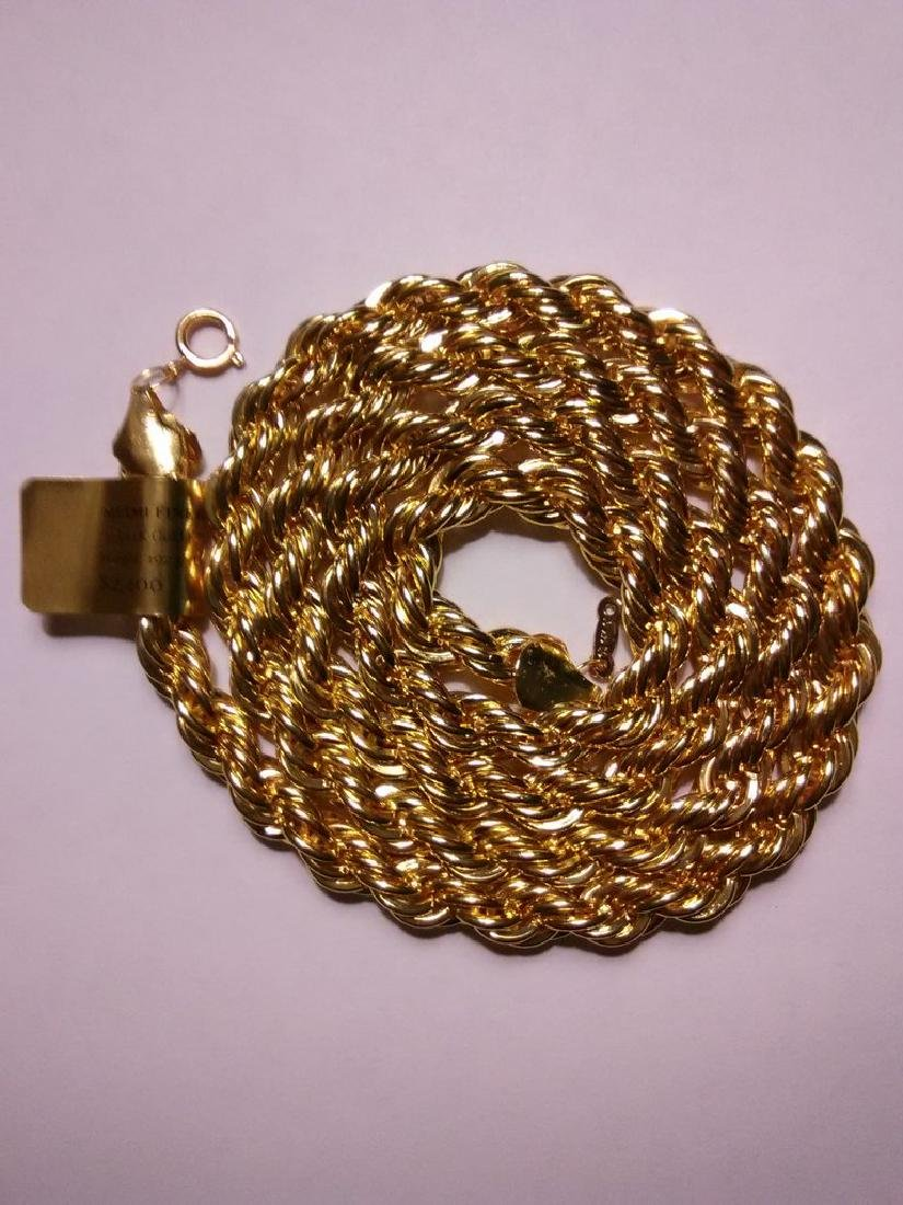 1/5 14K Gold Filled Rope Necklace, 192 Grams