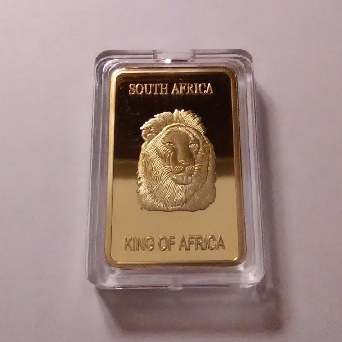 Africa Lion .999 Fine Gold Clad Bullion Bar