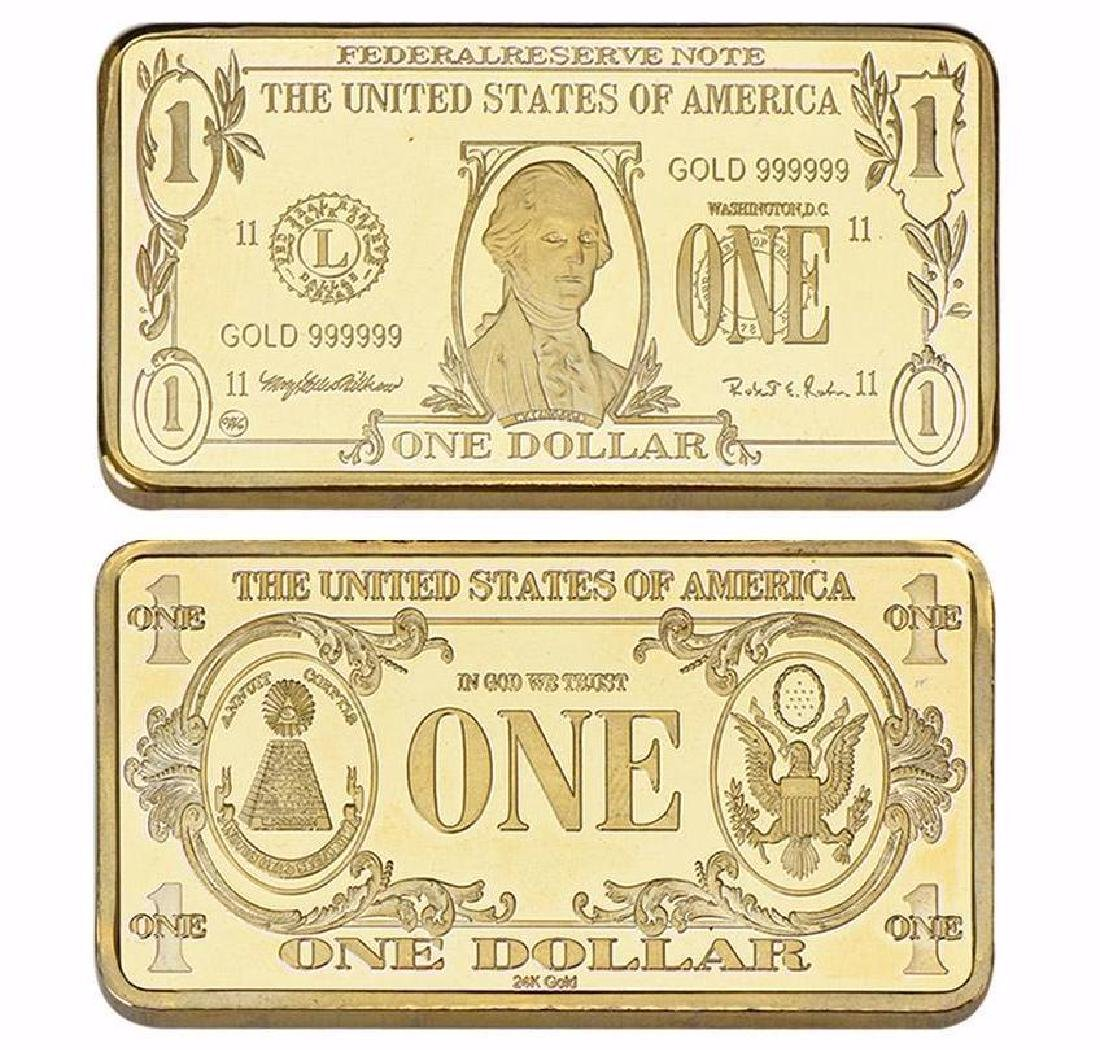 USA $1 24K Gold Clad Bullion Bar