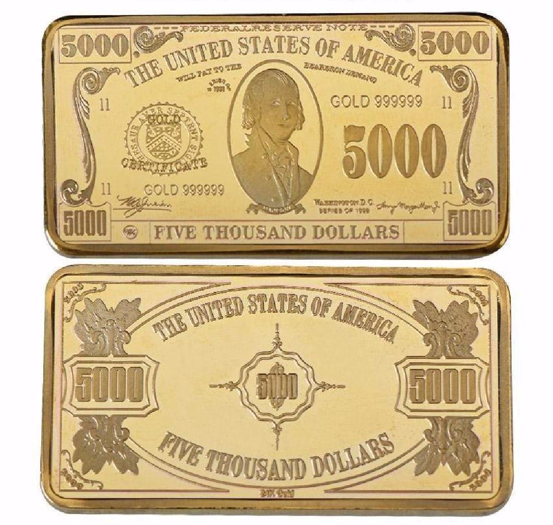 USA $5,000 24K Gold Clad Bullion Bar