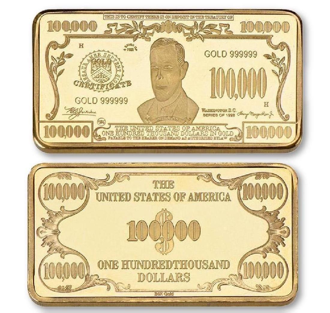 USA $100,000 24K Gold Clad Bullion Bar