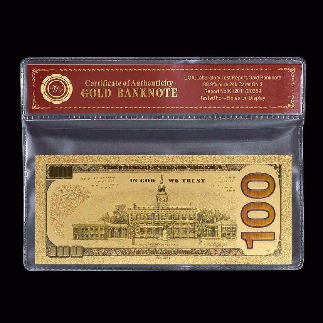 USA $100 24K Gold Clad Banknote - 2