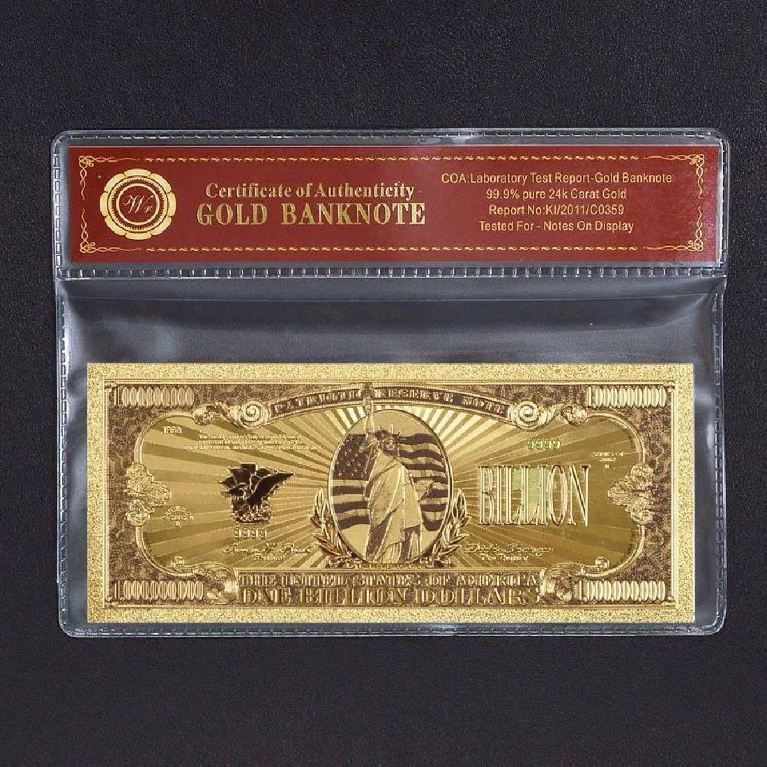 USA $1,000,000,000 Colored 24K Gold Clad Banknote