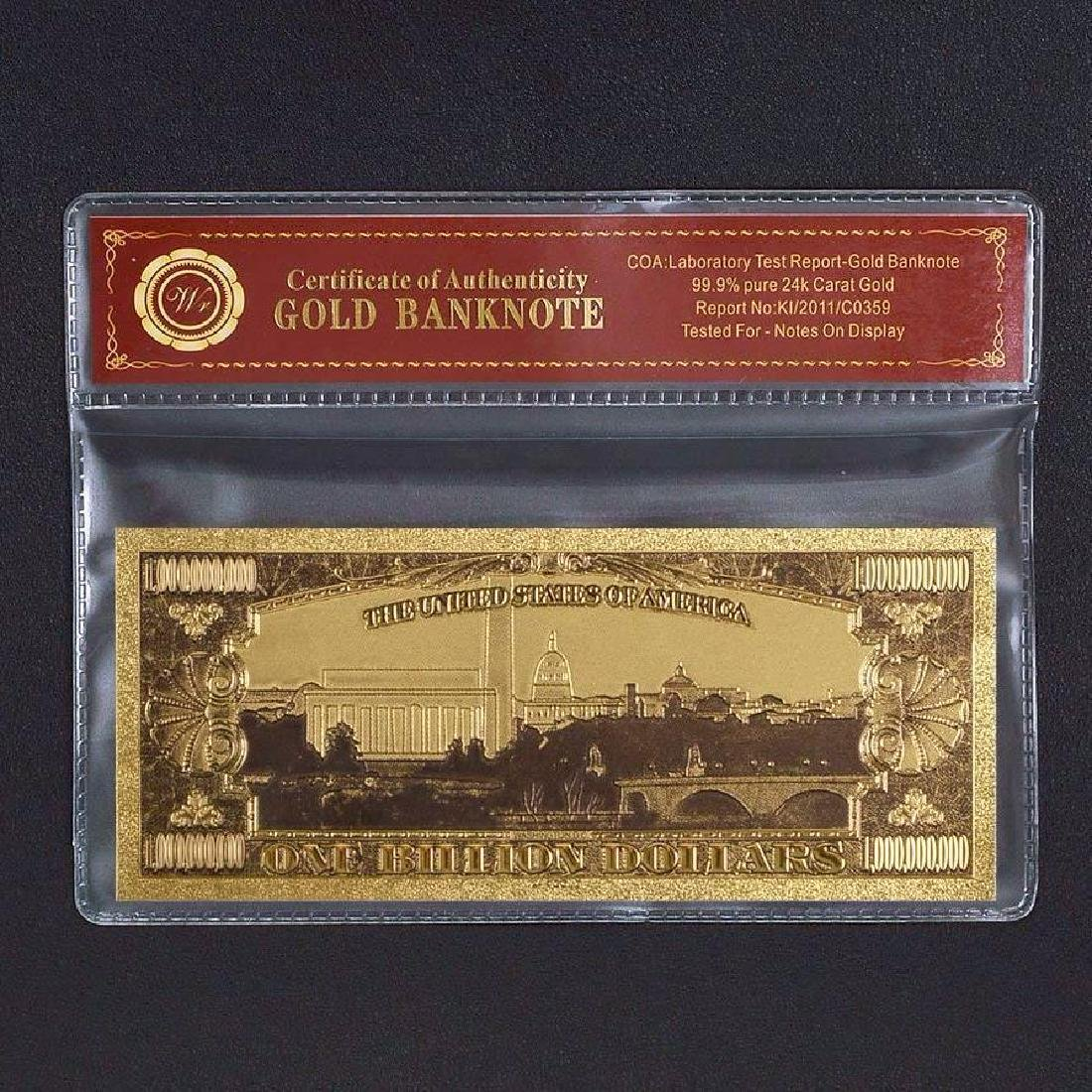 USA $1,000,000,000 Colored 24K Gold Clad Banknote - 2