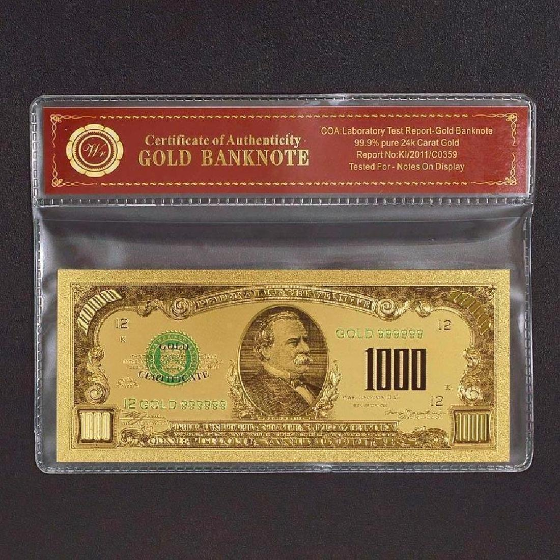 USA $1,000 24K Gold Clad Banknote
