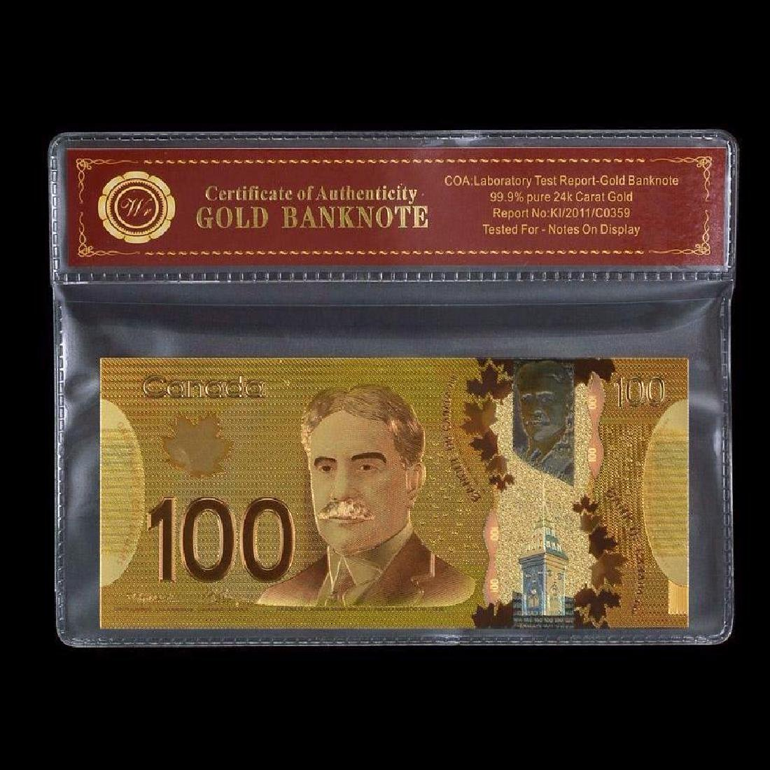 Canada 100 Dollars 24K Gold Clad Banknote