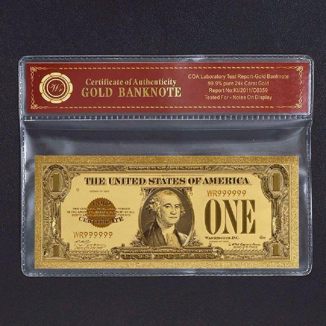 USA $1 24K Gold Clad Banknote