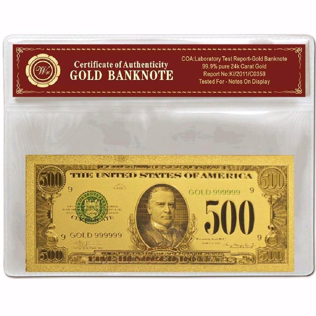 USA $500 24K Gold Clad Banknote