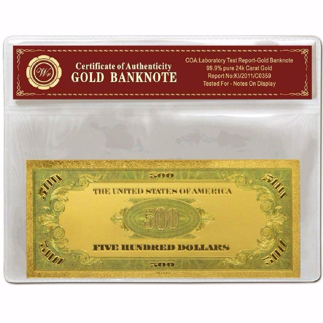 USA $500 24K Gold Clad Banknote - 2