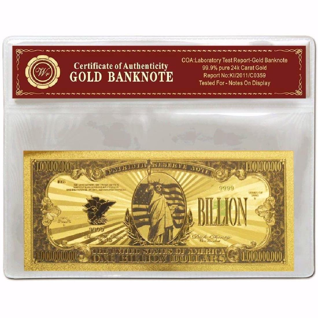 USA $1,000,000,000 24K Gold Clad Banknote