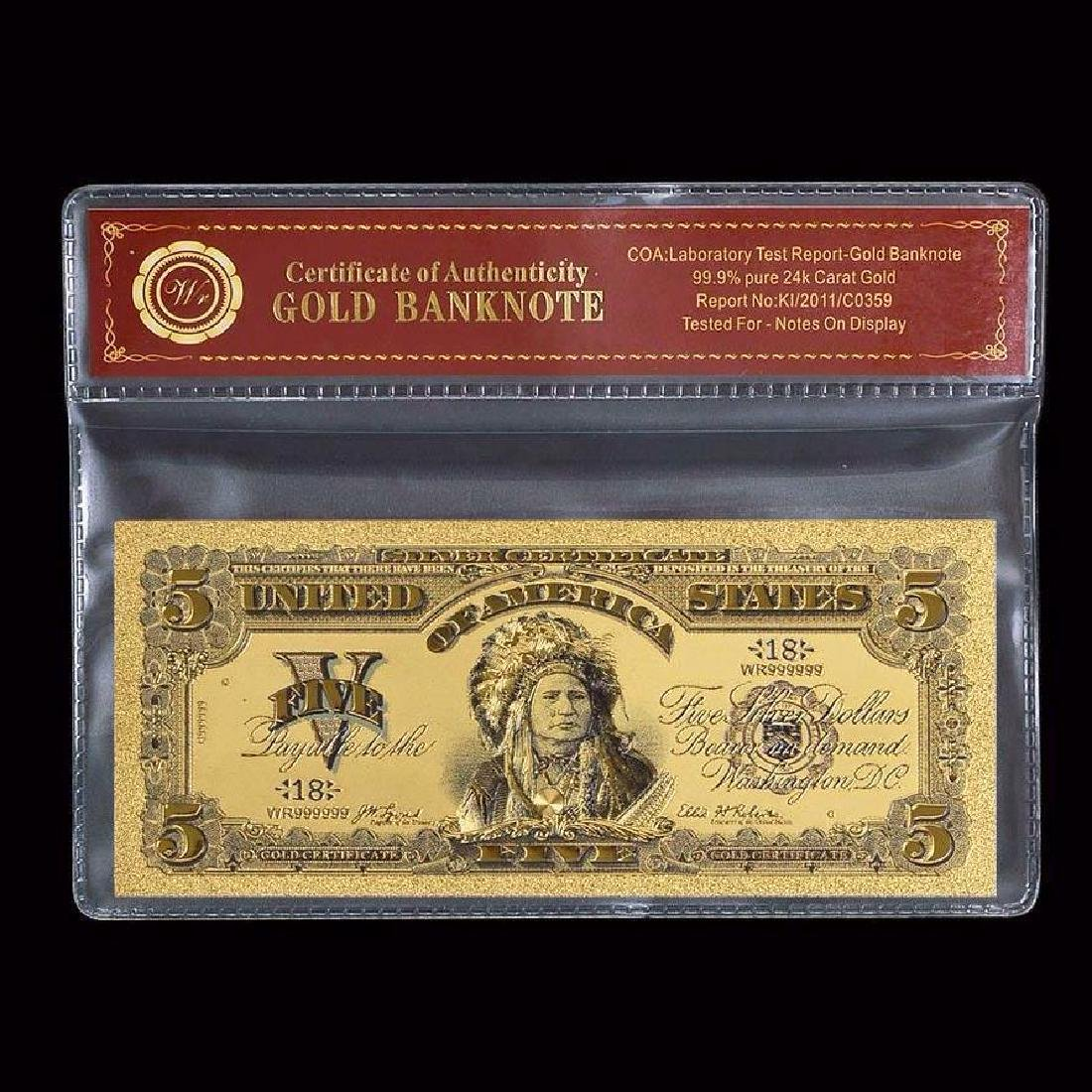 USA $5 24K Gold Clad Banknote