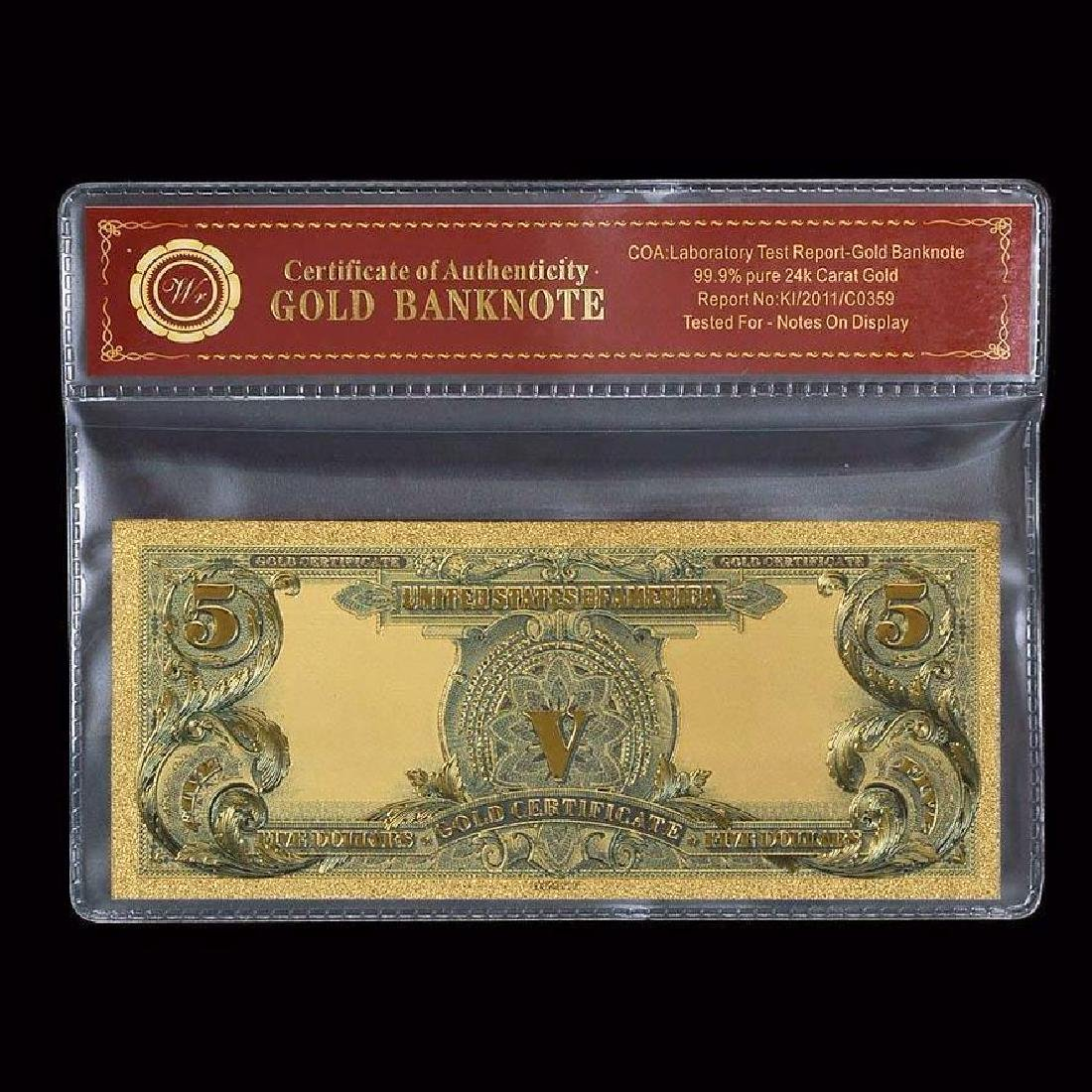 USA $5 24K Gold Clad Banknote - 2