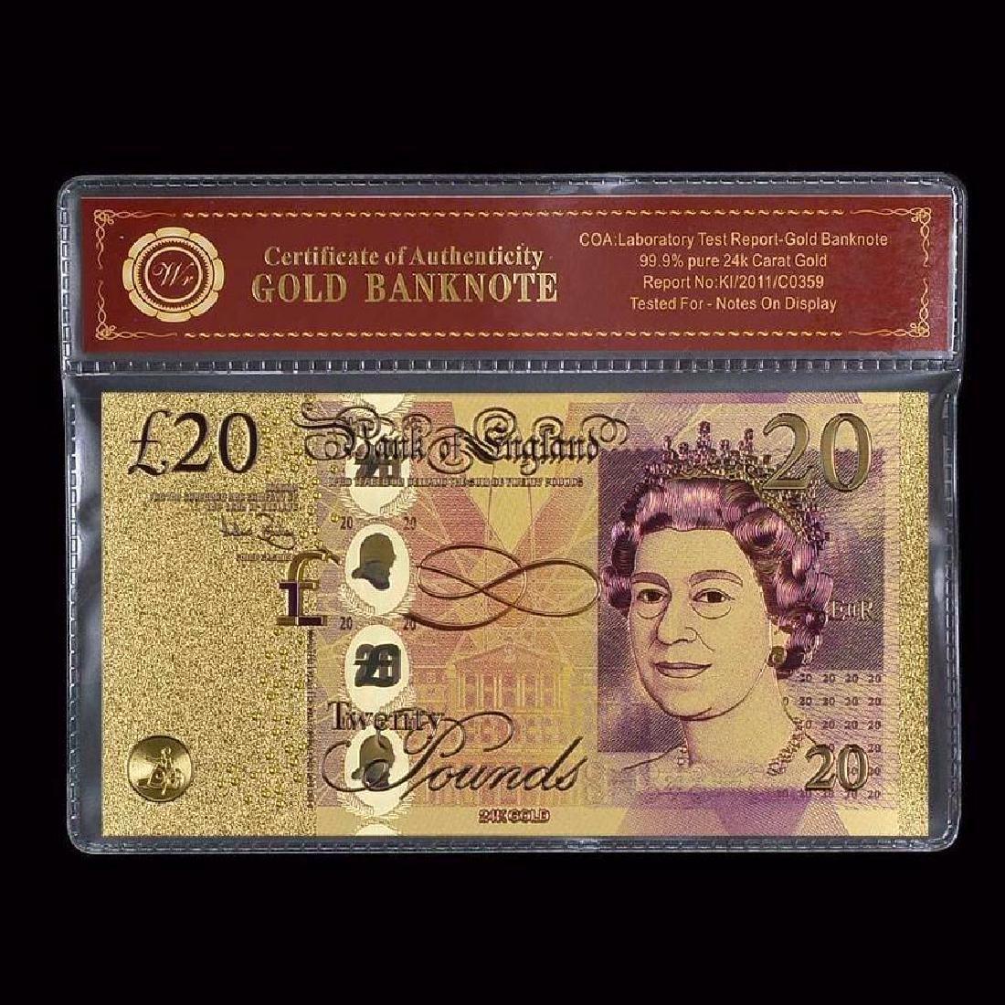 UK 20 Pounds 24K Gold Clad Banknote