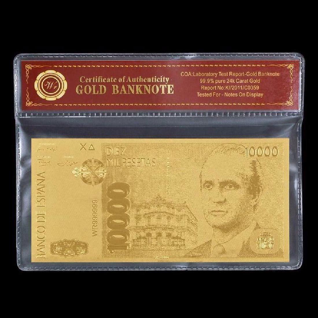Spain 10,000 Pesetas 24K Gold Clad Banknote