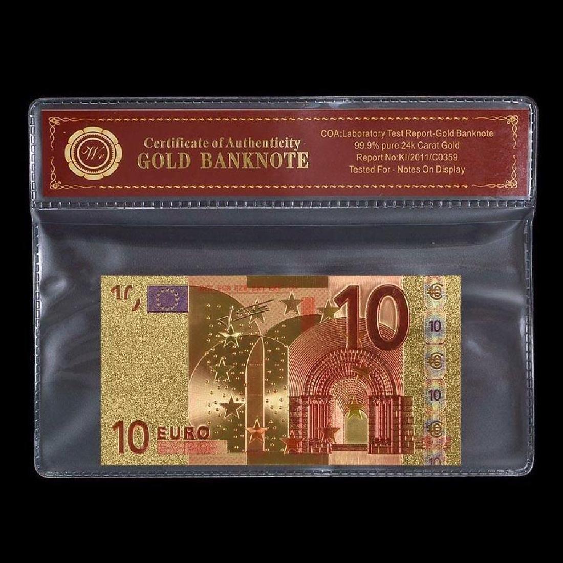 EU 10 Euro 24K Gold Clad Banknote