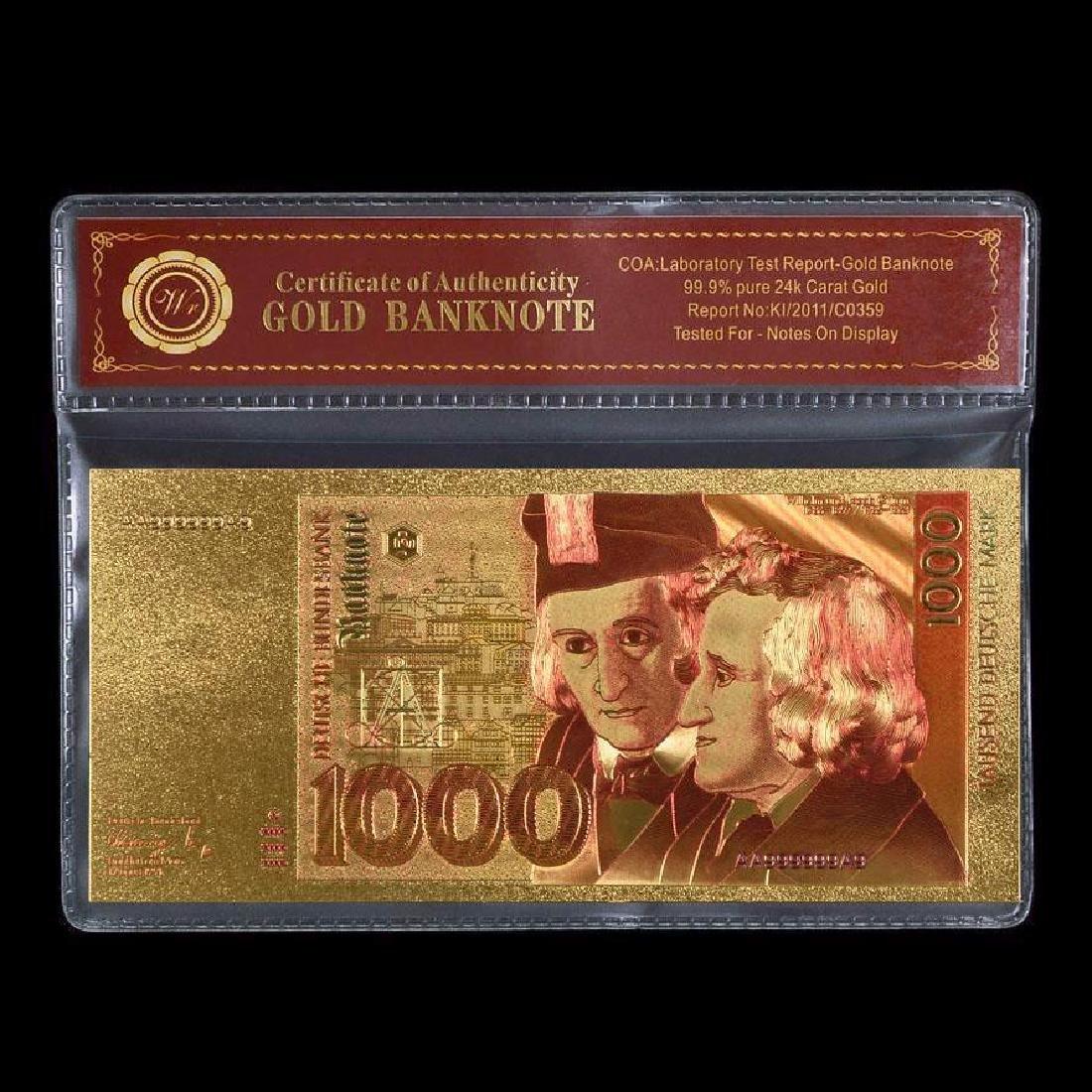 Germany 1,000 Mark 24K Gold Clad Banknote