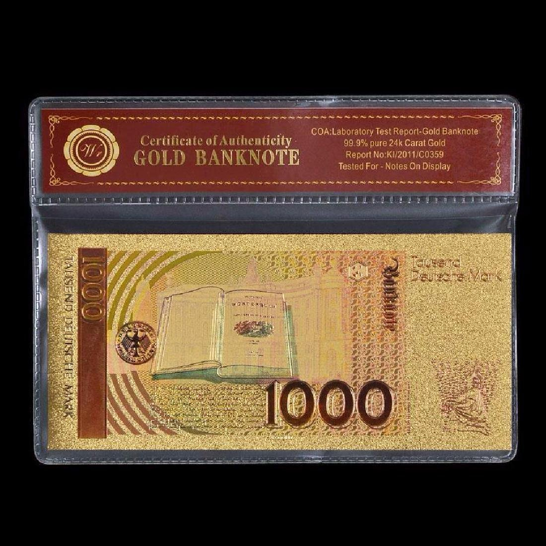 Germany 1,000 Mark 24K Gold Clad Banknote - 2
