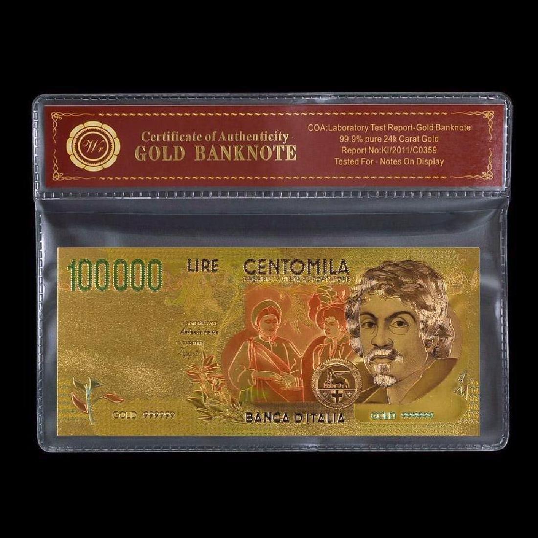 Italy 100,000 Lira 24K Gold Clad Banknote