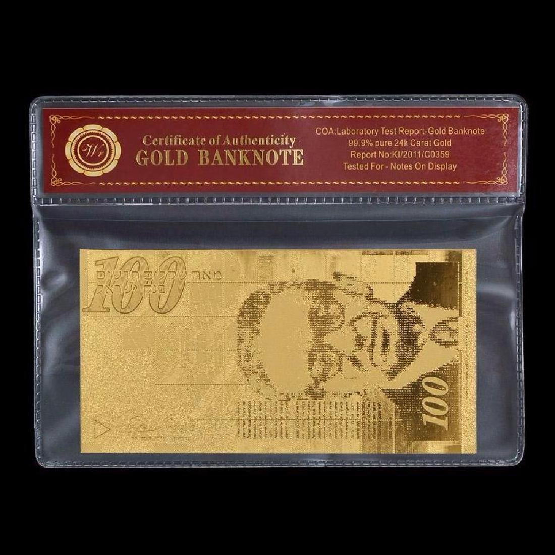 Israel 100 Shekels 24K Gold Clad Banknote