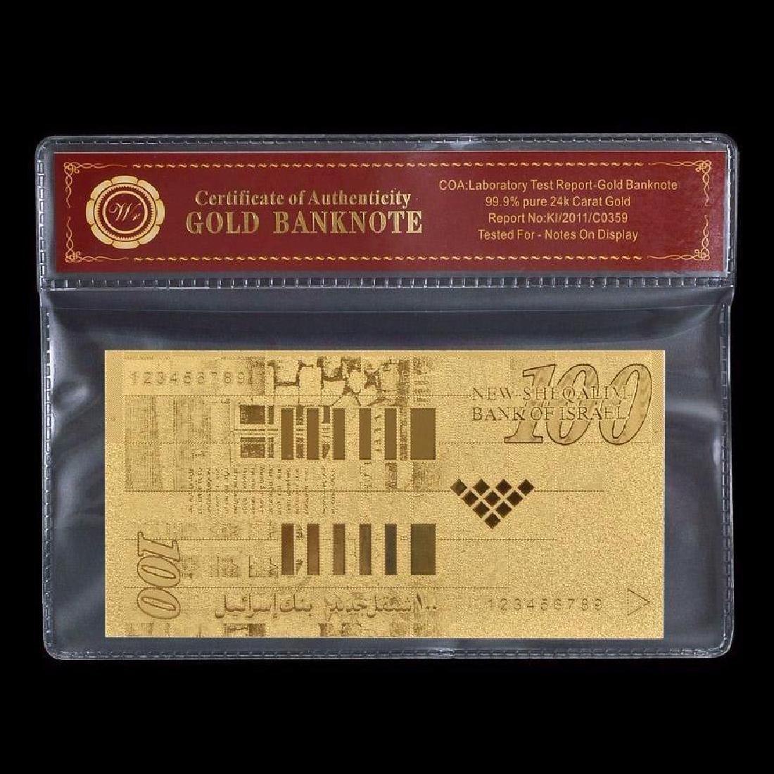 Israel 100 Shekels 24K Gold Clad Banknote - 2