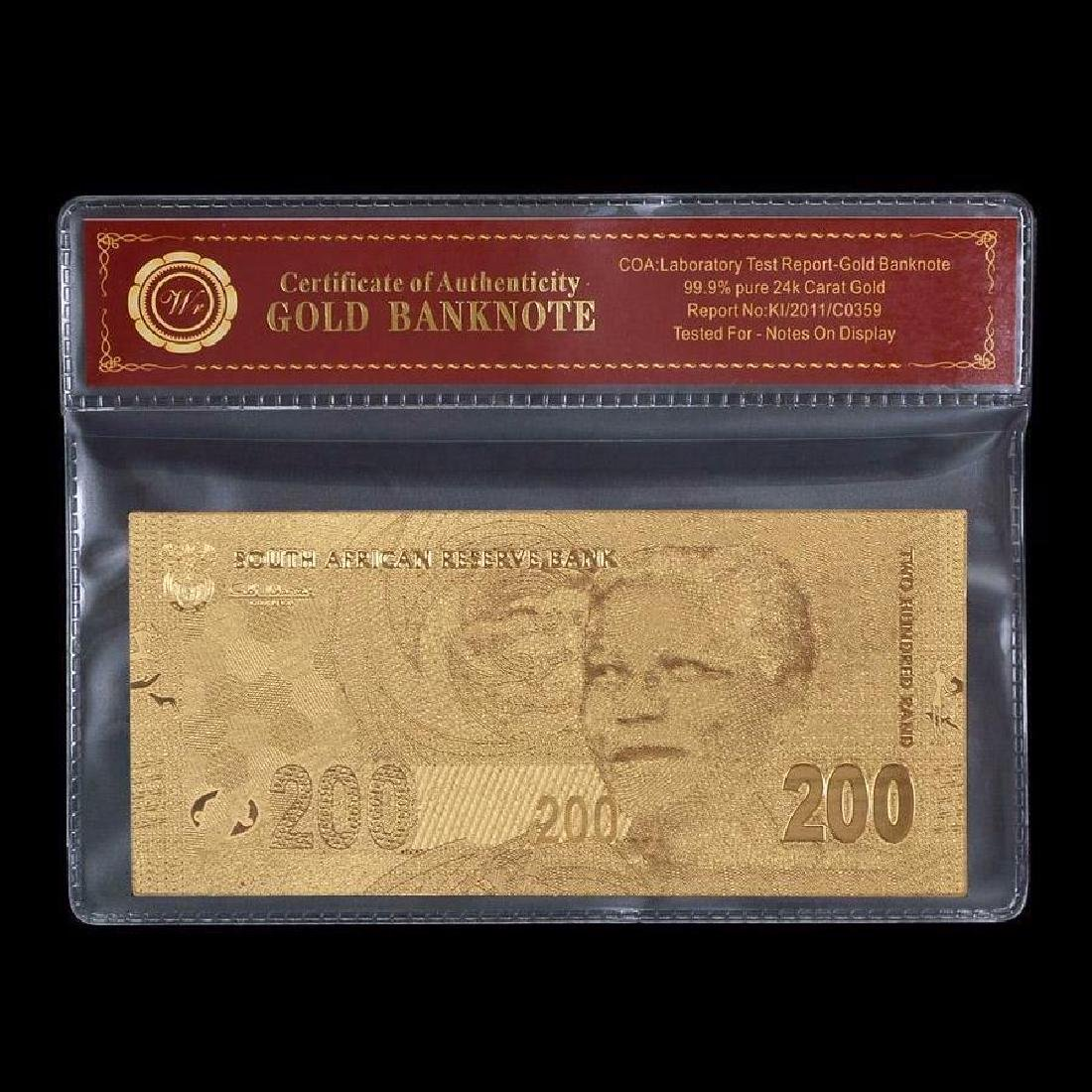 South Africa 200 Rand 24K Gold Clad Banknote