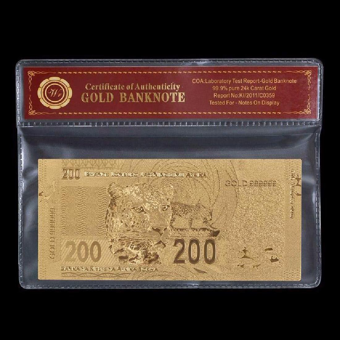 South Africa 200 Rand 24K Gold Clad Banknote - 2