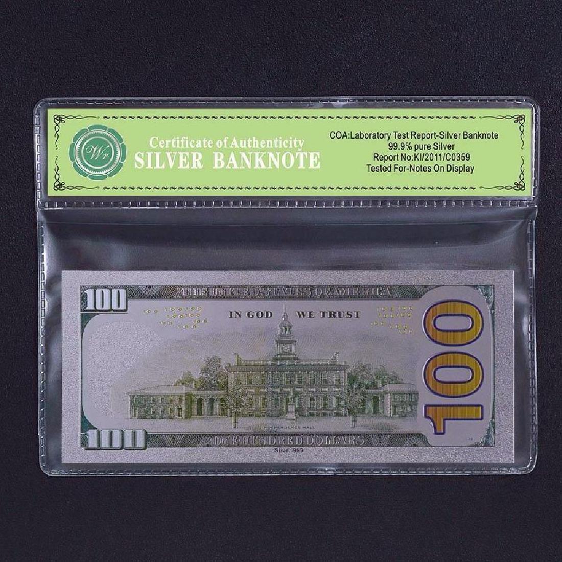 USA $100 24K Silver Clad Banknote - 2