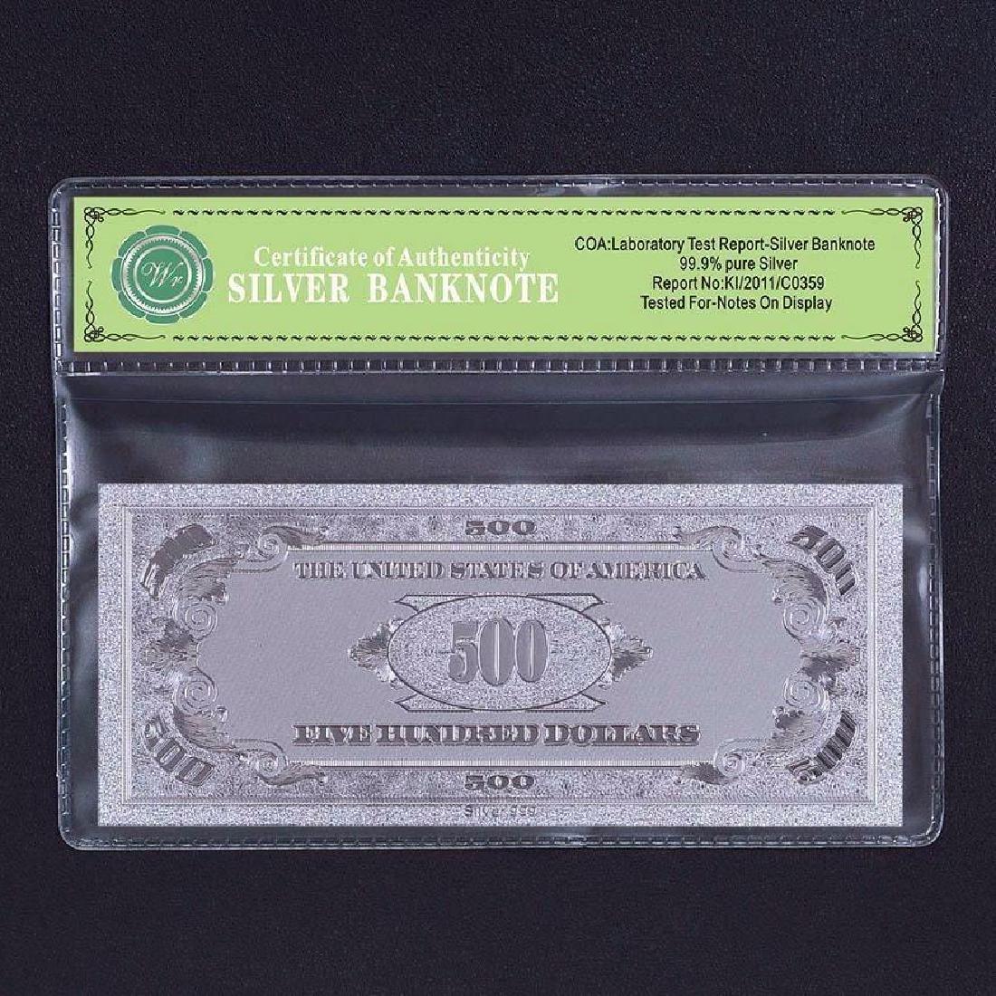 USA $500 24K Silver Clad Banknote - 2