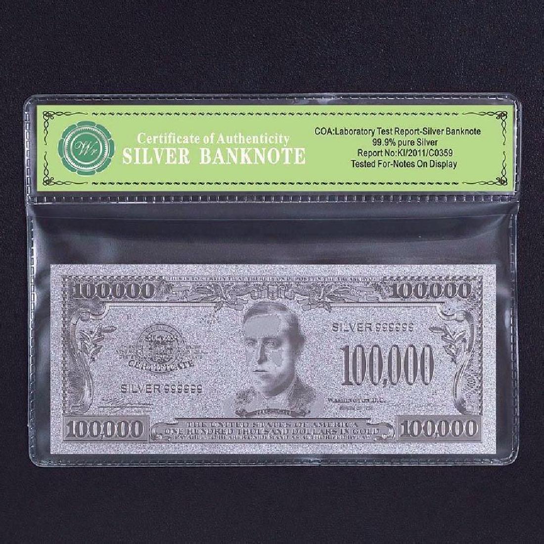 USA $100,000 24K Silver Clad Banknote