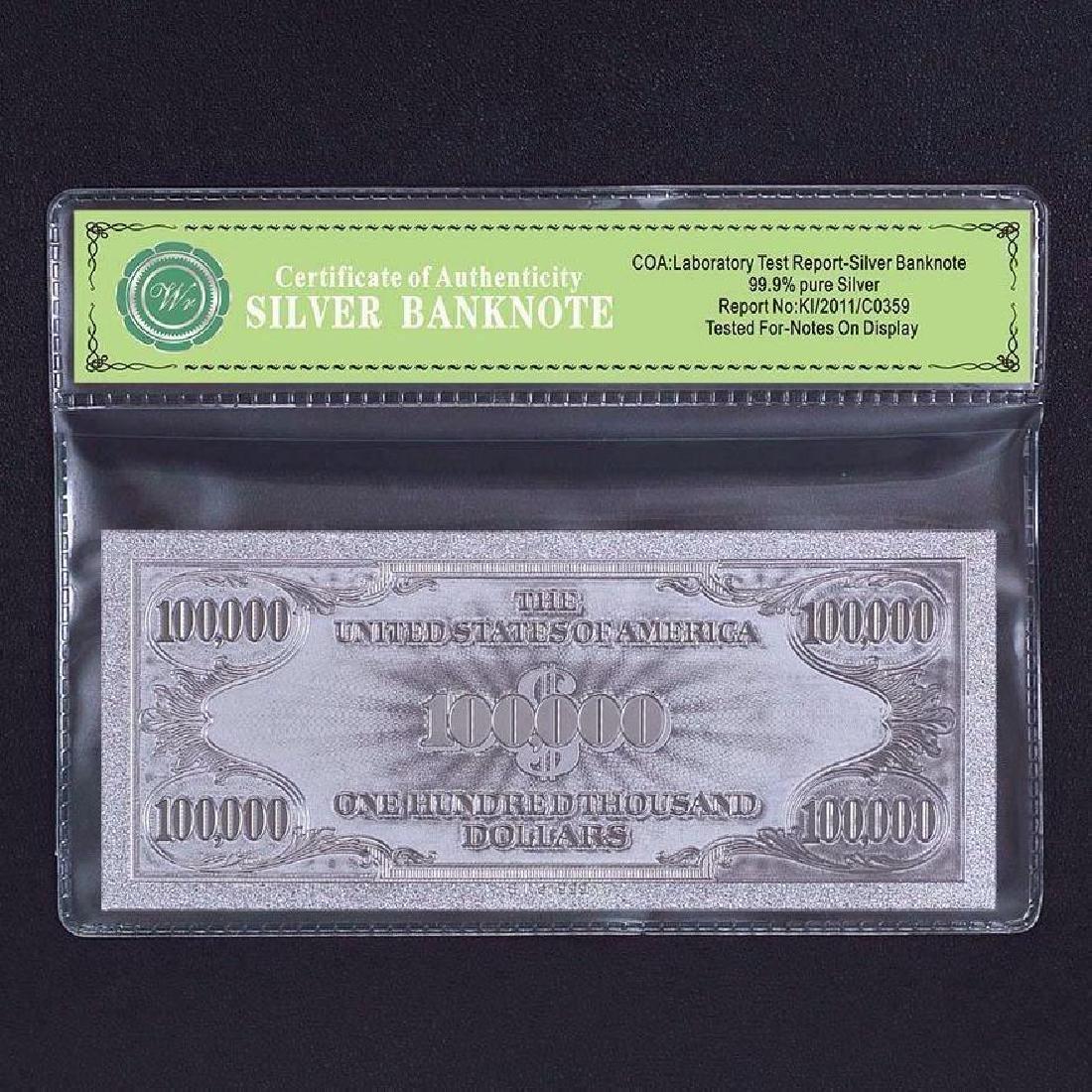 USA $100,000 24K Silver Clad Banknote - 2