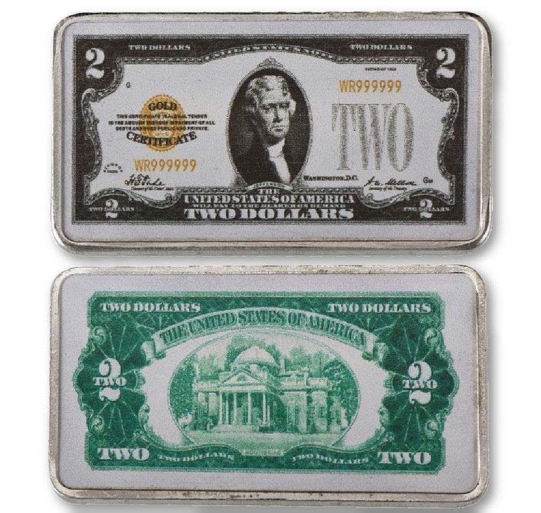 USA $2 24K Silver Clad Banknote Bar