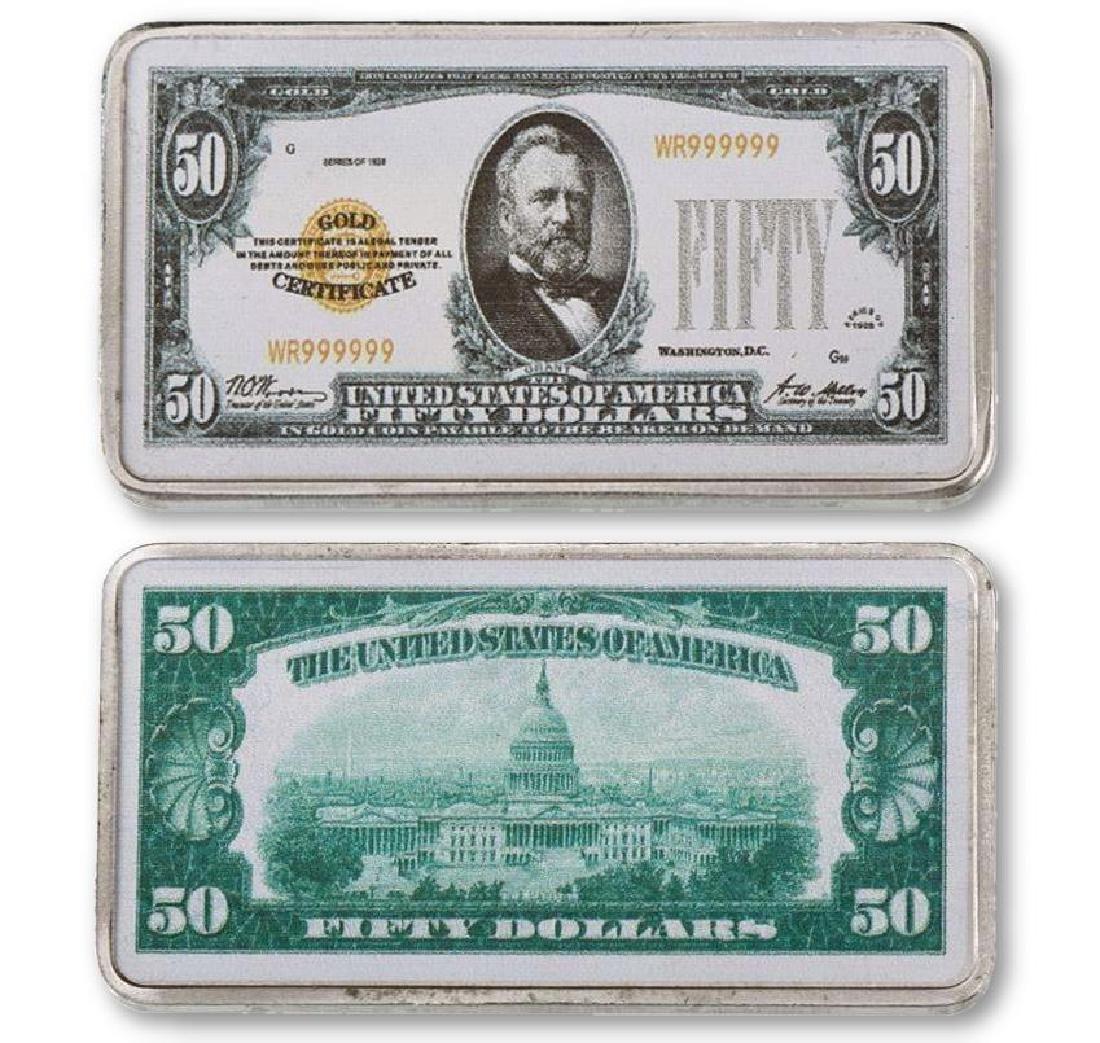 USA $50 24K Silver Clad Banknote Bar