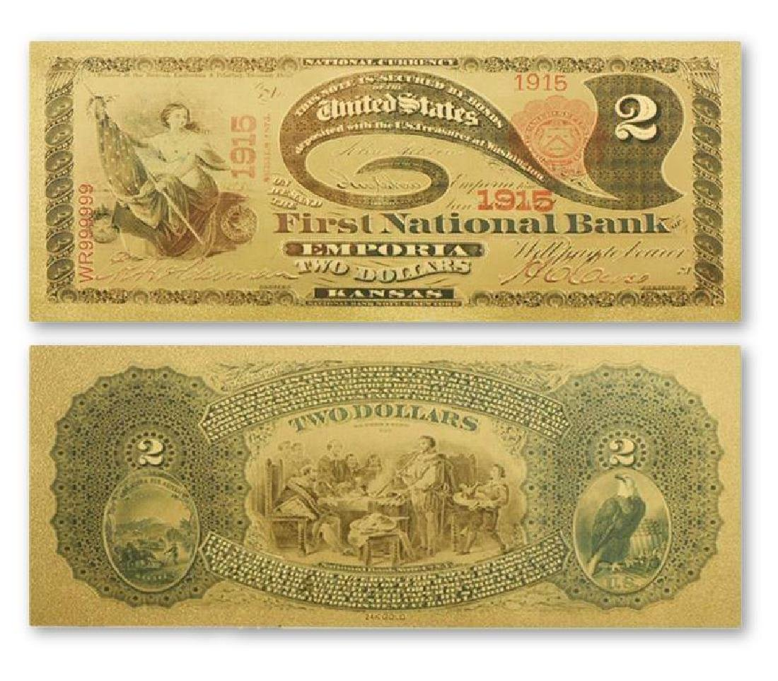 1915 USA $2 24K Gold Clad Banknote