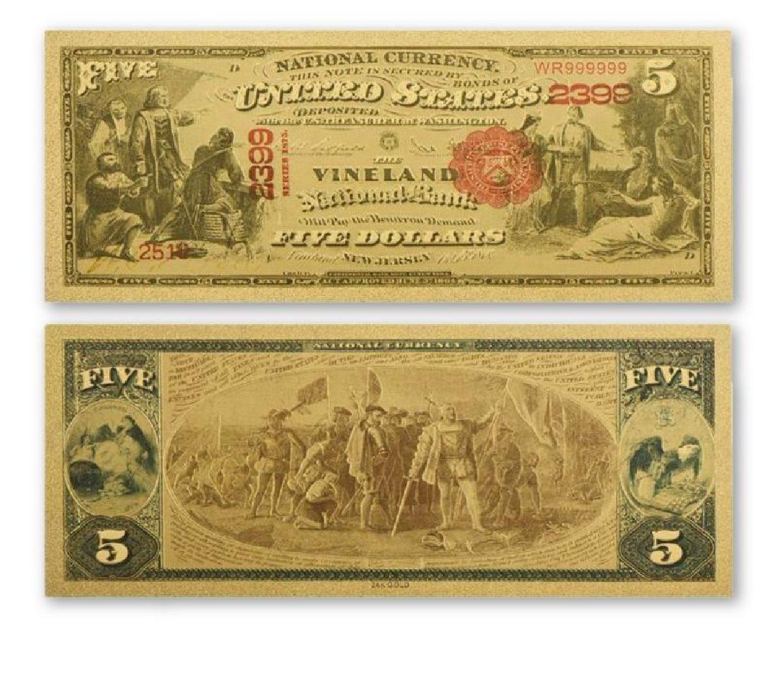1800s USA $5 24K Gold Clad Banknote