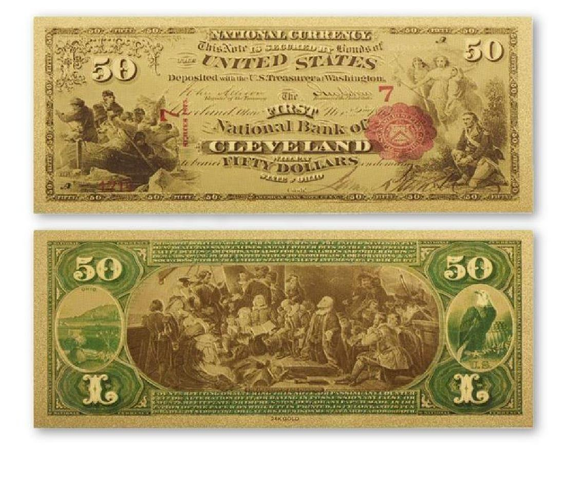 1711 USA $50 24K Gold Clad Banknote