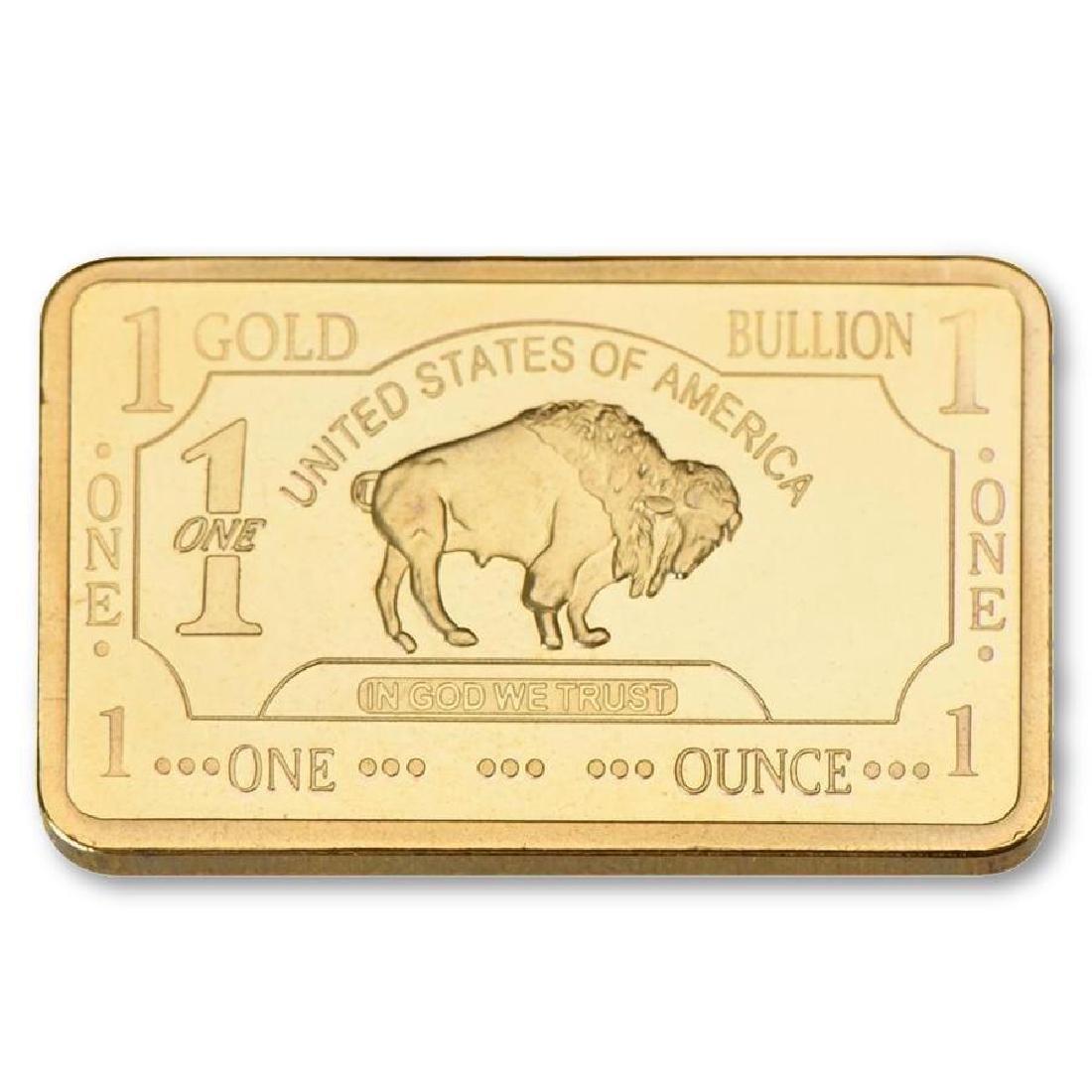 USA Buffalo 1 Oz .999 24K Gold Clad Bullion Bar