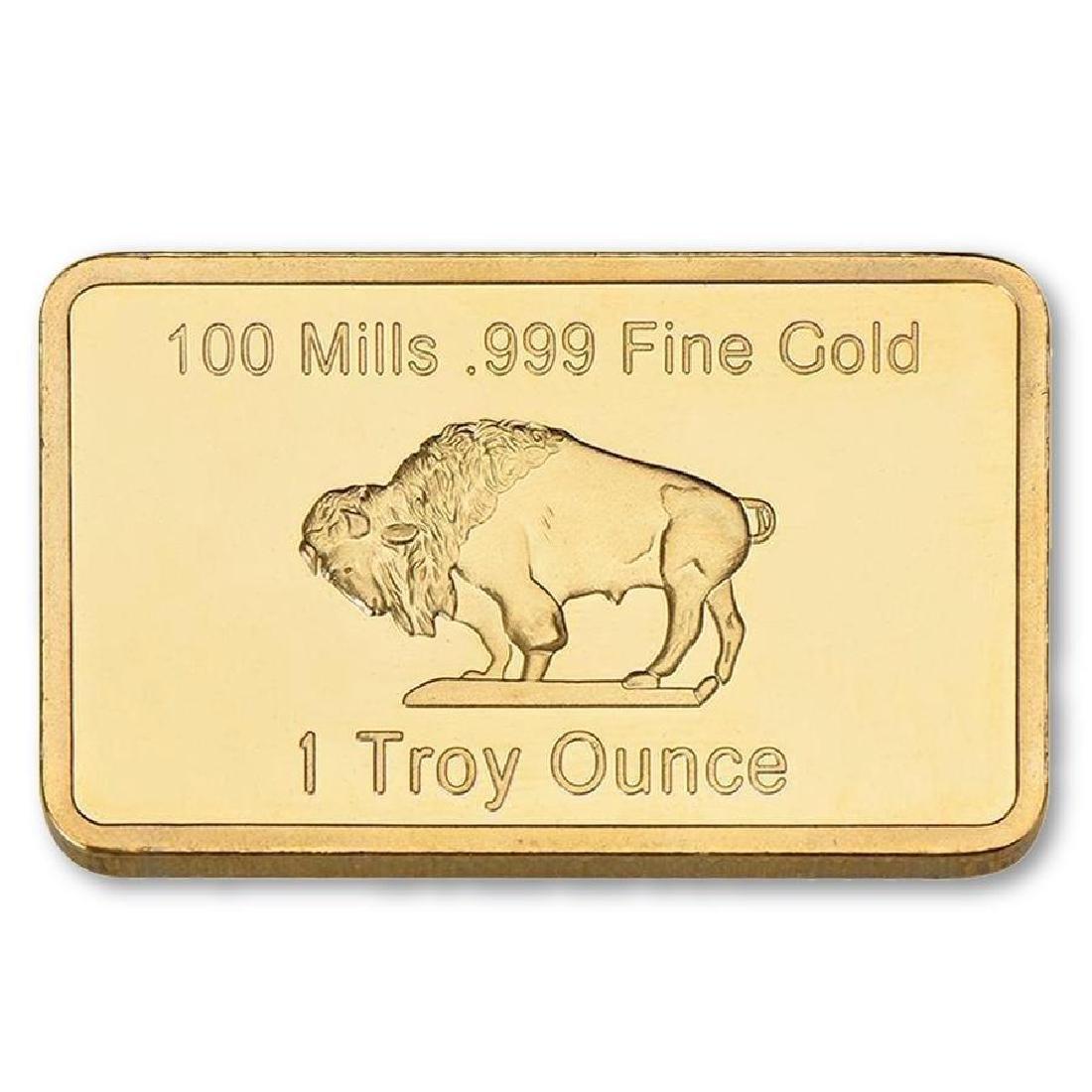 USA Buffalo 1 Oz .999 24K Gold Clad Bullion Bar - 2