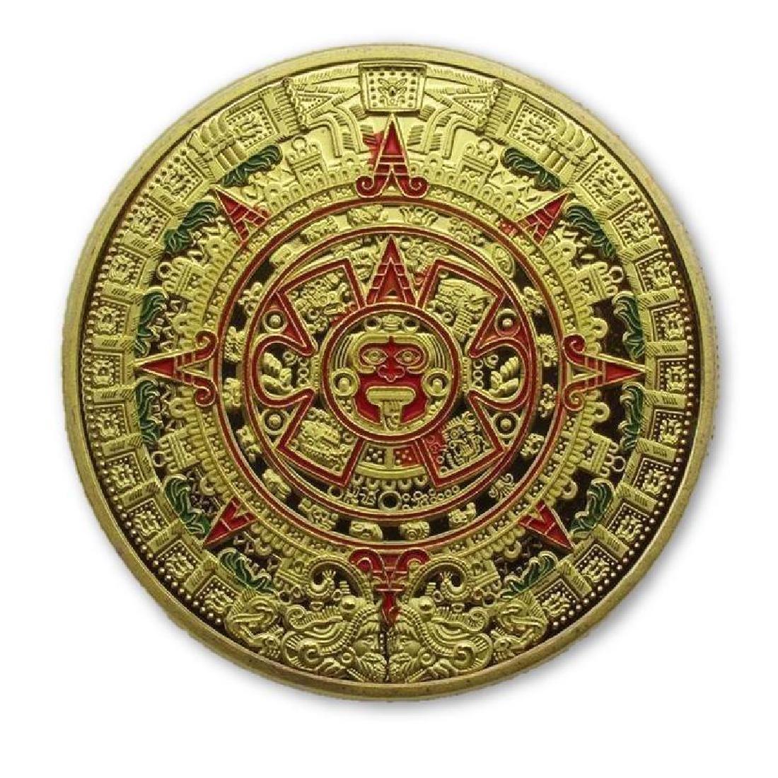 Aztec Calendar Colored Gold Clad Coin
